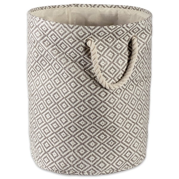 "20"" Gray Geometric Patterned Round Large Paper Bin - N/A"