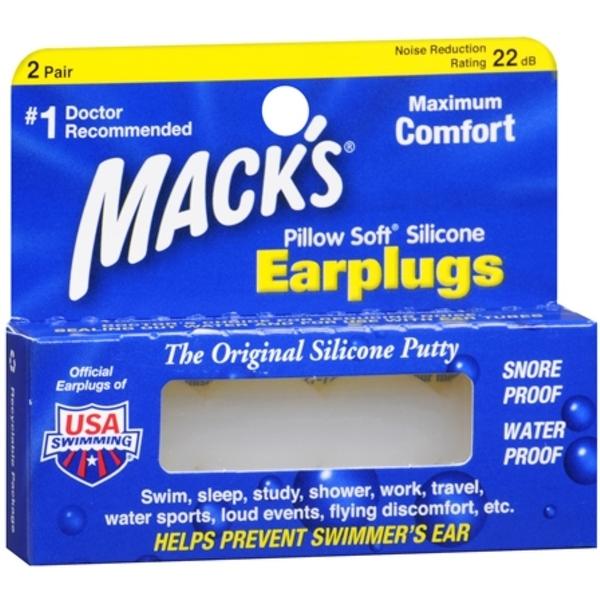 Mack's Pillow Soft Earplugs White 2 Pairs