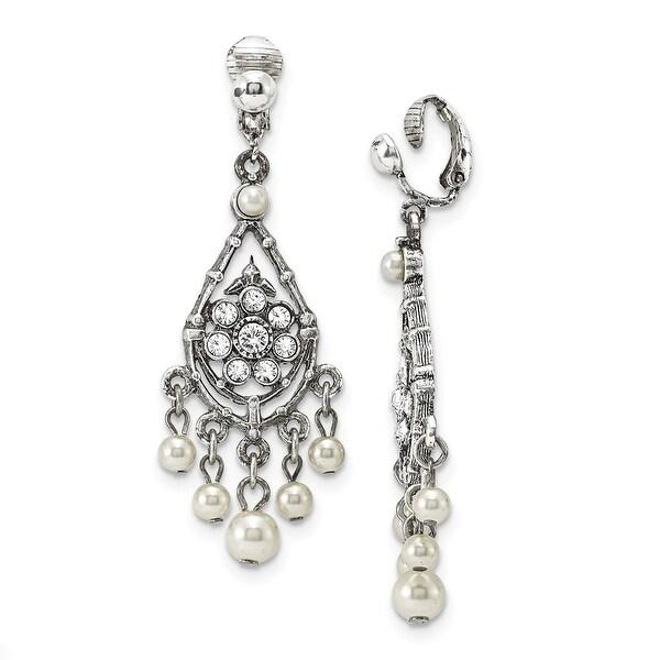 Silvertone Sodalite & Blue Crystals Diamond Shaped Dangle Earrings