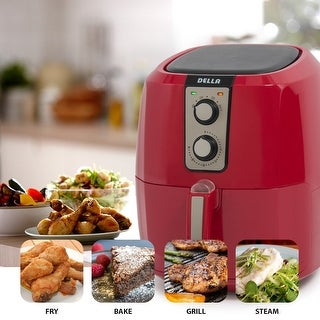 Della Low Fat Healthy Multi Cooker Rapid Air Circulation System XL Electric Air Fryer, 5.8 QT, 1800W, Red