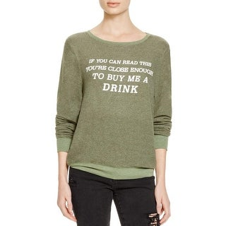 Wildfox Couture Womens Crewneck Sweater Graphic Crew Neck