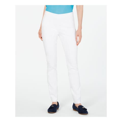 CHARTER CLUB Womens White Solid Skinny Pants Size 18