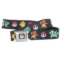 Pokemon Seatbelt Belt - Bulbasaur, Charmander, Squirtle, Pikachu, Pokeball on Black