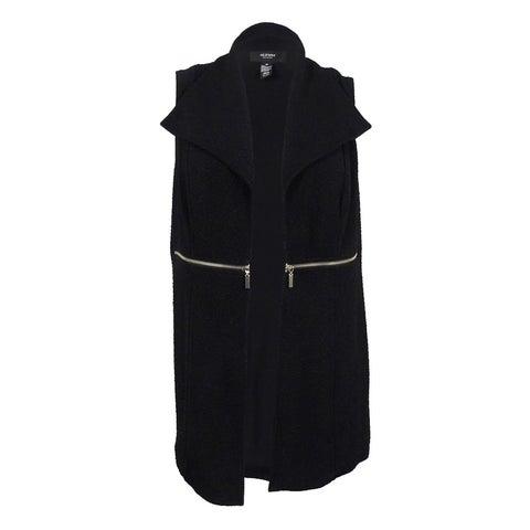 Alfani Women's Plus Size Zip-Trim Textured Vest 2X, Deep Black - Deep Black - 2x