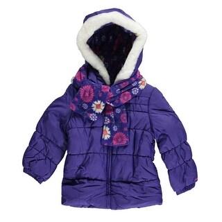 London Fog Girls 2T-4T Puffer Scarf Jacket Set - Pink