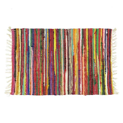 Oussum Home Decor Chindi Collection Indian Handmade Accent Rag Rug Multi-Color Rectangle Bohemian Colorful Area Rugs