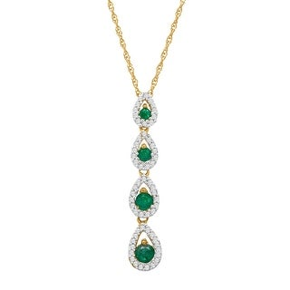 3/8 ct Natural Emerald & 1/6 ct Diamond Teardrop Pendant in 14K Gold - Green