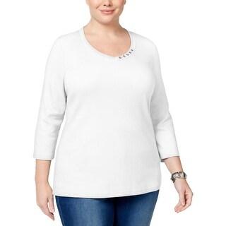 Karen Scott Womens Plus Casual Top V-Neck Button