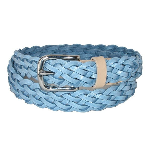 The British Belt Company Women's Prunella Leather Hand Woven Braided Belt