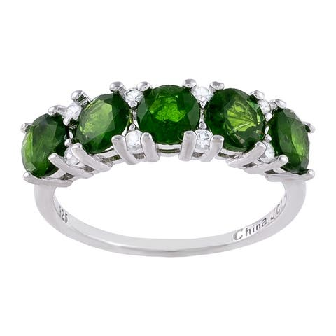 5-Stone Round-Cut Chrome Diopside with White Zircon Ring, Sterling Silver