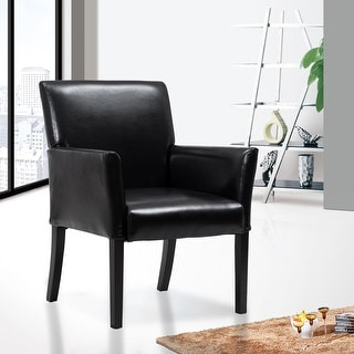 Costway Modern PU Leather Executive Guest Chair Sofa w/ Arms Black Furniture