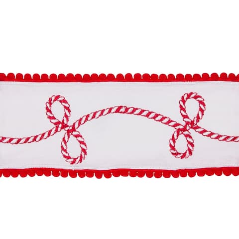 """Pack of 2 White and Red Candy Cane Christmas Wired Cotton Ribbons 4"""" x 5 Yards"""