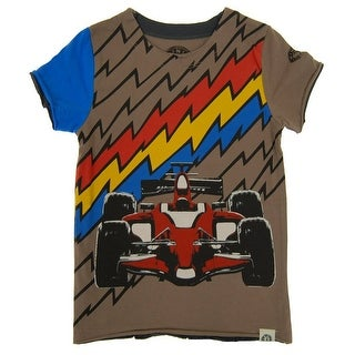 Mini Shatsu Boys Brown Lightning Speed Print Short Sleeve Tee (2 options available)