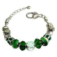 Multi-color Emerald and Mint Gems Beaded Charms Metal Alloy Bracelet - 7 inches