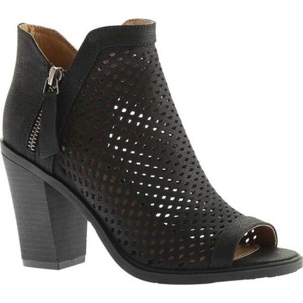 Portland Boot Company Women's Emma Perforated Peep Toe Bootie Black Nubuck Polyurethane