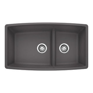 "Blanco 4413 Performa 33"" Silgranit Granite Composite Undermount Double Bowl Kitchen Sink with 60/40 Split - N/A"
