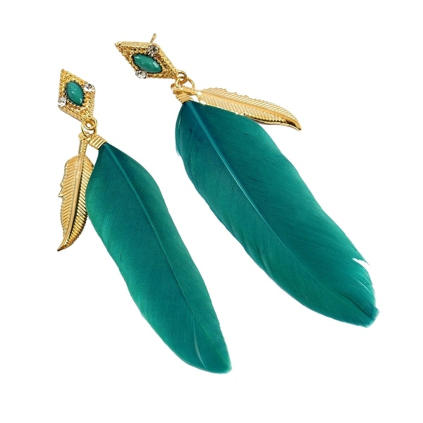 Feather Post Dangle Earrings Leaf Charm Center Stone Teal