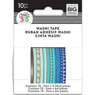 Blue Hues - Happy Planner Mini Washi Tape 3Mmx6.56Yd Each 10/Pkg