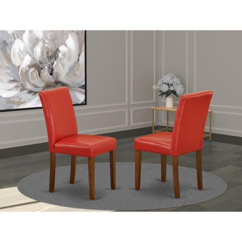 East West Furniture ABP3T72 Abbott Parson Chair with Mahogany Leg and Pu Leather Color Firebrick Red, Set of 2