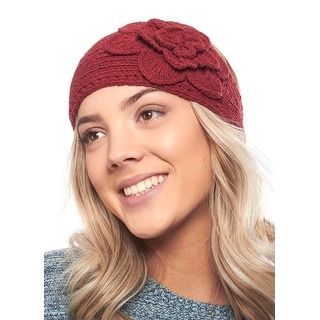 Pristine Pansy Knit Winter Headband with Flower Accent