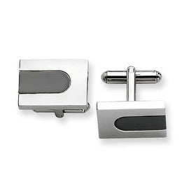Chisel Stainless Steel Polished and Black Plated Cuff Links