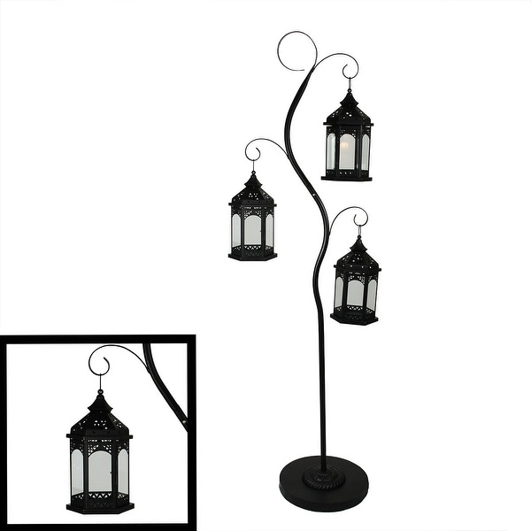 "70"" Rustic Black Pillar Candle Holder Tree with 3 Decorative Lanterns"