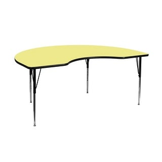 Offex 48''W x 72''L Kidney Shaped Activity Table with Yellow Thermal Fused Laminate Top , Standard Height Adjustable Leg