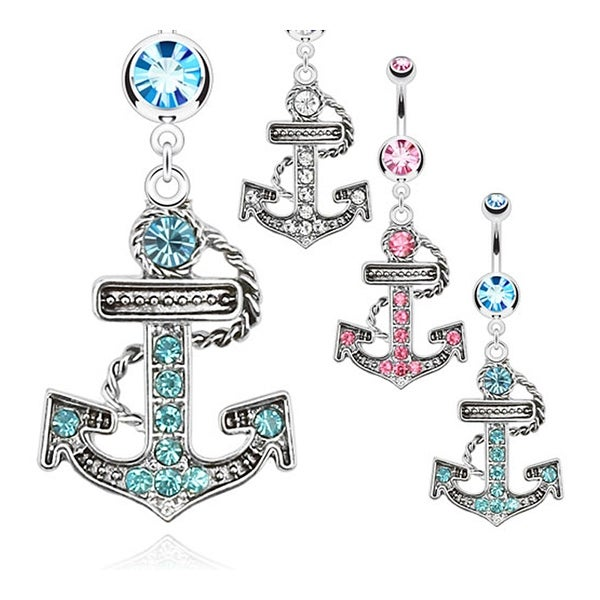 Multi Paved Anchor Dangle Navel Belly Button Ring with Double CZ 316L Surgical Steel