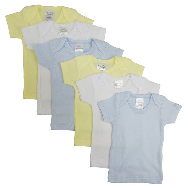 Bambini Boy's White, Yellow, Blue Rib Knit Short Sleeve T-Shirt 6 - Pack