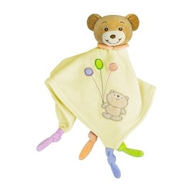 Russ Baby Bow Teddy Bear Rattle Blanket in Yellow - 14.0 in. x 14.0 in.