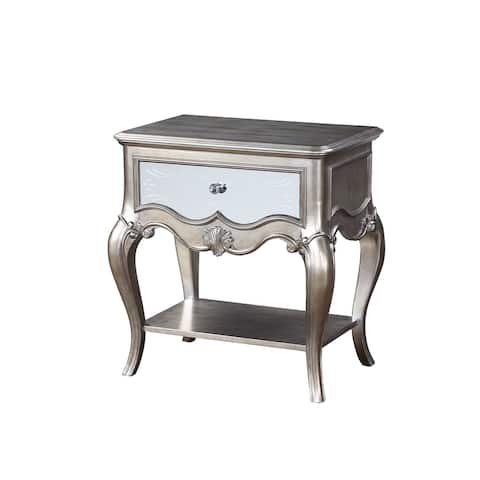 Nightstand with Mirror Panel Front and Molded Trim, Antique Silver