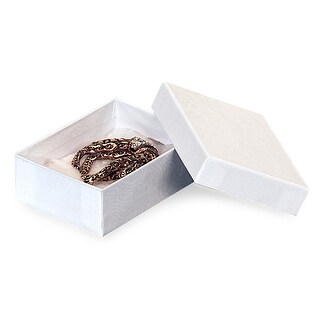 "Pack of 100, Solid 3.75 X 2.5 X 1"" White Swirl Jewelry Box w/Non-Tarnish Cotton For Items Such As Earrings Or Silverware"