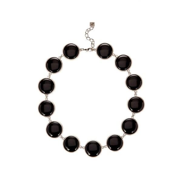 Karen Kane Womens Palm Park Collar Necklace Organic Statement - Black/silver