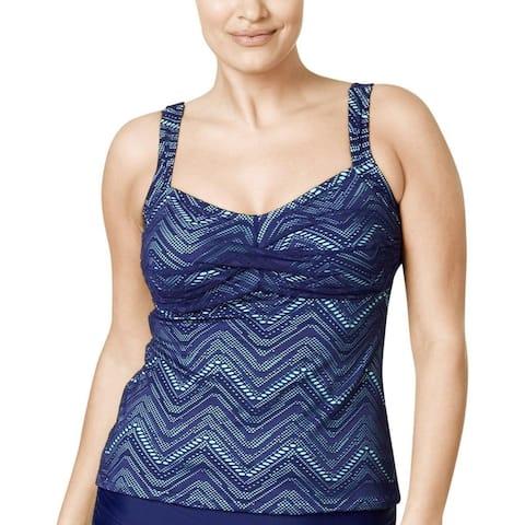 Island Escape Plus Women's Crochet Twist Front Swim Top, Navy, 18W