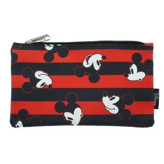 Disney Mickey Mouse Pencil Case Pouch Holder Stripes Print - One Size Fits most