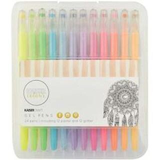 12 Pastel Colors & 12 Glitter Colors - Kaisercolour Gel Pens 24/Pkg