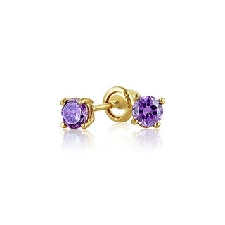 Tiny Cubic Zirconia Purple Imitation Amethyst CZ Round Solitaire Stud Earrings Real 14K Yellow Gold Screwback