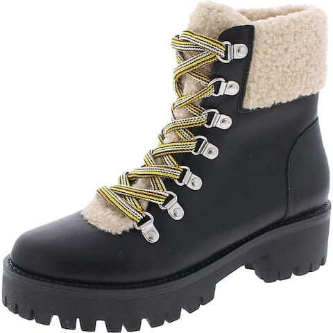 Steve Madden Womens Aniko Winter Boots Faux Leather Faux Fur - Black Leather