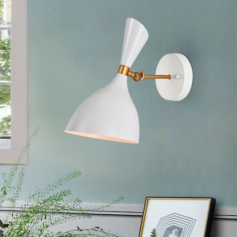Richmond Matte White+Gold Curved Bowl Metal Shade 1-Light Wall Sconce