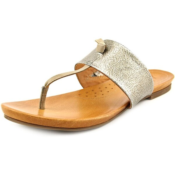 Naya Crescent Women Open Toe Leather Silver Thong Sandal