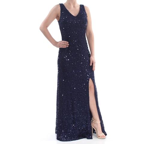 495658f9999 NIGHTWAY Womens Navy Sequined Slitted Sleeveless V Neck Full-Length Prom Dress  Size  6