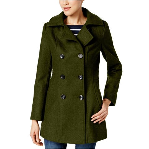 Nautica Hooded Double Breasted Wool Blend Peacoat Military Green