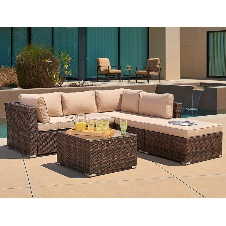 SUNCROWN 4 Piece Outdoor Furniture Sectional Sofa Set