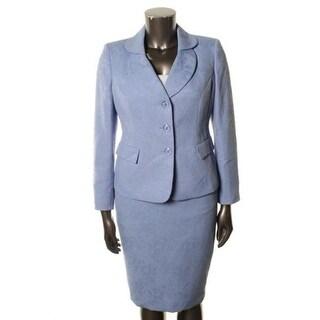 Le Suit Womens Water Lilies Jacquard Double Collar Skirt Suit - 12