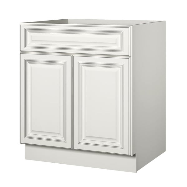 Sunny Wood Slb30 A Sanibel 30 Double Door Base Cabinet Off White With Charcoal Glaze N A