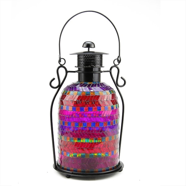"13"" Decorative Multicolor Mosaic Glass Tea Light Candle Holder Lantern"