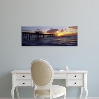 Easy Art Prints Panoramic Image 'Fishing pier, Venice Fishing Pier, Brohard Park, Venice, Sarasota, Florida' Canvas Art