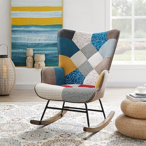Living Room Rocking Chair with Linen Fabric Nap Seat Metal Frame