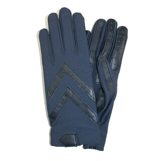Isotoner Women's Unlined Leather Palm Driving Gloves (Option: Navy)
