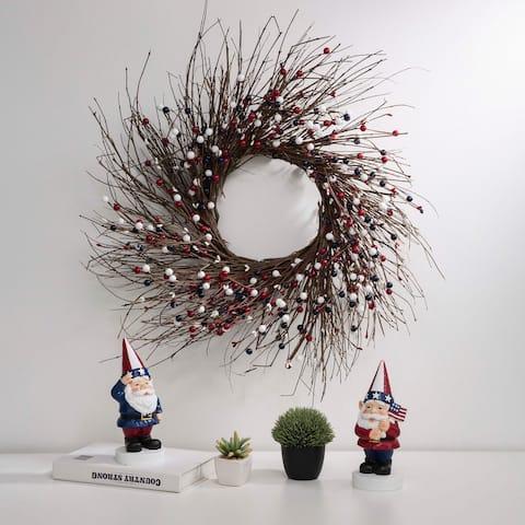 "Glitzhome 24""D Artificial Patriotic RED/White/Blue Berry Wreath"